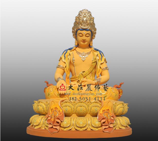铜雕五方佛之南方宝生佛彩绘佛像
