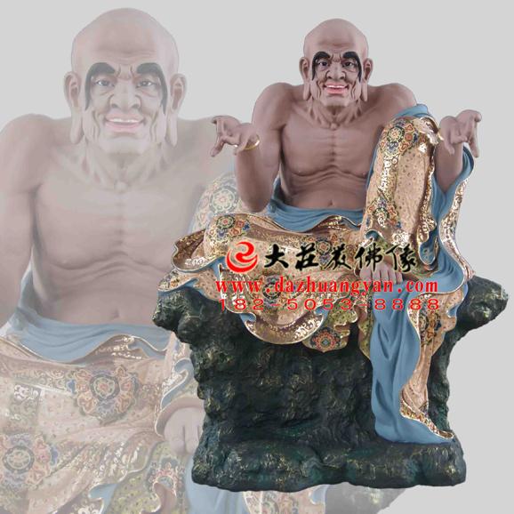 铜雕迦理迦尊者彩绘塑像