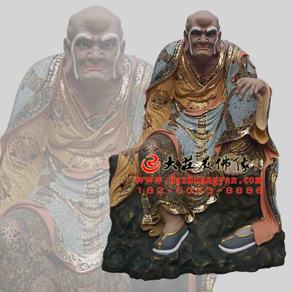 铜雕阿氏多尊者彩绘塑像
