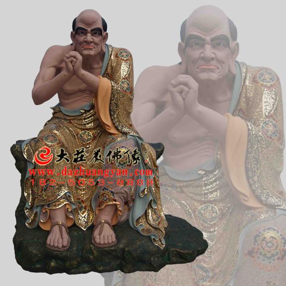 铜雕跋陀罗尊者彩绘塑像