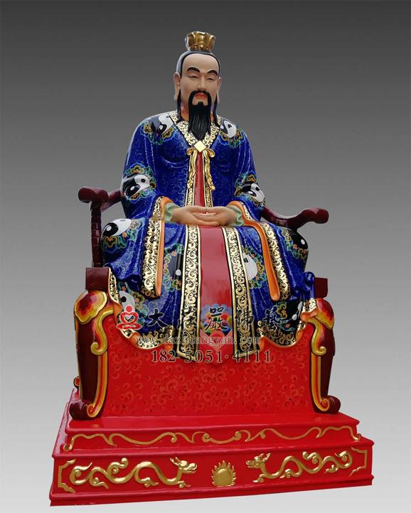 铜雕三清之元始天尊彩绘神像