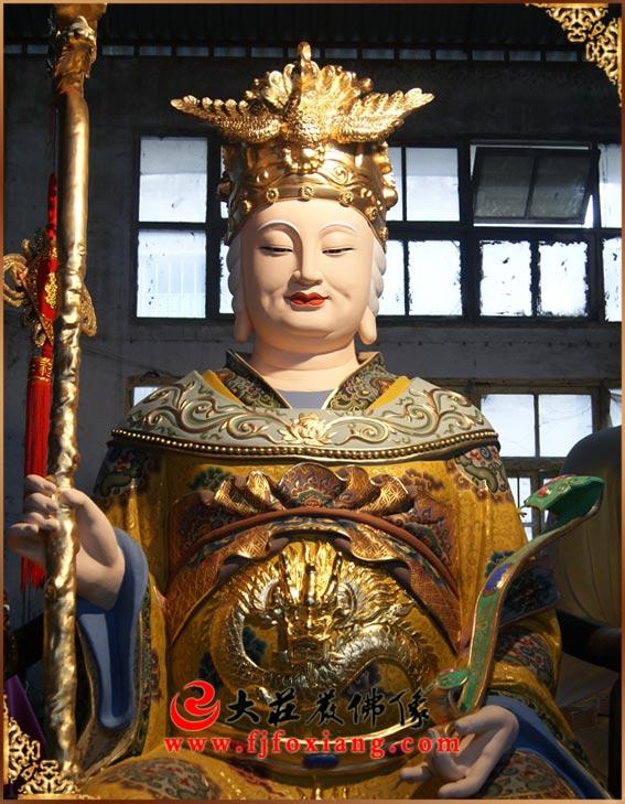 铜雕龙女娘娘彩绘神像