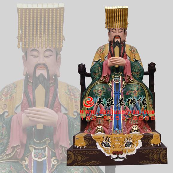 铜雕青帝彩绘神像